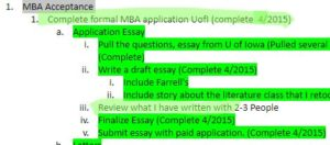 Green Highlight of my goals document
